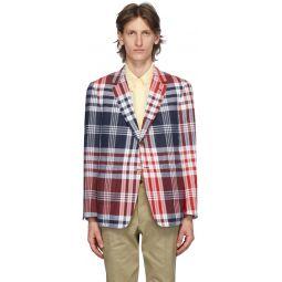 Navy & Red Large Plaid Madras Sack Sport Coat Blazer