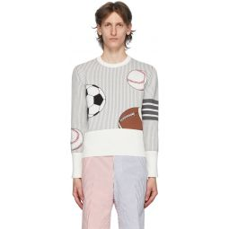 White & Grey 4-Bar Striped Multi Ball Icon Sweater