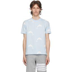 Blue Dolphin Icon Print T-Shirt