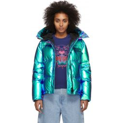 Blue Limited Edition Holiday Down Hooded Quilted Jacket