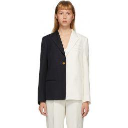 White & Navy Silk Easton Bi-Colored Blazer