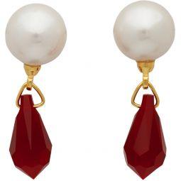 White & Red Pearl & Jewel Earrings