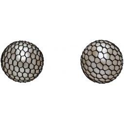 White Silk Net-Covered Pearl Earrings