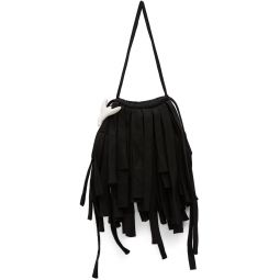 Black Denim Mini Fringe Tote