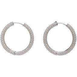Silver Large Crystal Hoop Earrings