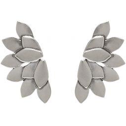 Silver Half Flower Earrings