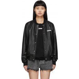 Black Leather Arrows Bomber Jacket