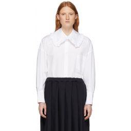 White Square Collar Ruffle Shirt