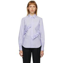 Blue Broad Double Ruffle Shirt