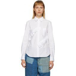 White Broad Double Ruffle Shirt