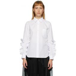 White Broad Ruffle Arm shirt