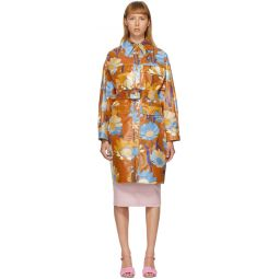 Multicolor Coated Cotton Daisy Garden Coat