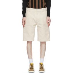 White Canvas 'Forever Fendi' Bermuda Shorts