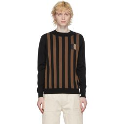 Brown & Black Cotton Crewneck Sweater