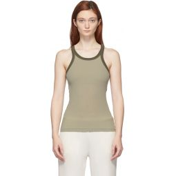 Khaki Silk Rib Tank Top