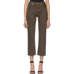 Brown High Rise Stove Pipe Jeans