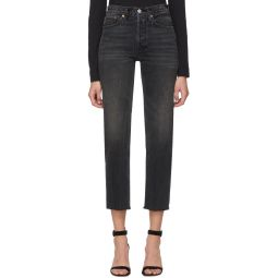 Black High Rise Stove Pipe Jeans
