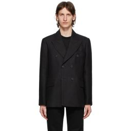Black Unconstructed Double-Breasted Blazer