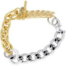 Gold & Silver Feather Materialmix Bracelet