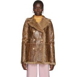 Reversible Tan Shearling Pippa Coat
