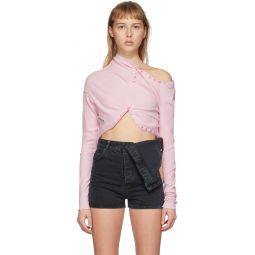 Pink Upside Down Long Sleeve T-Shirt