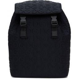 Black Neoprene Embossed Logo Backpack