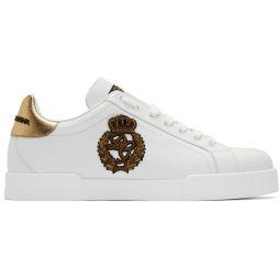 White & Gold Crest Portofino Sneakers