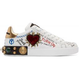 White Heart Graffiti Sneakers
