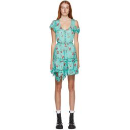 Blue Floral Deconstructed Babydoll Dress