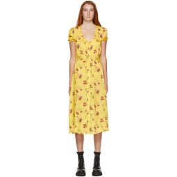 Yellow Floral Mid-Length Dress