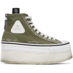 Green & White Platform High Top Sneakers