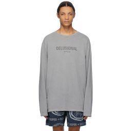 Grey 'Delusional' Long Sleeve T-Shirt