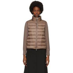 Taupe Down Paneled Cardigan Jacket