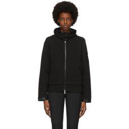 Black Sleeve Detail Zip-Up Hoodie