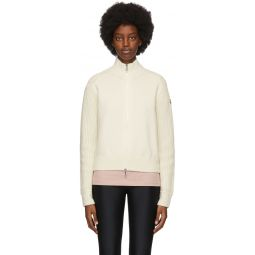 Off-White Knit Zip-Up Sweater