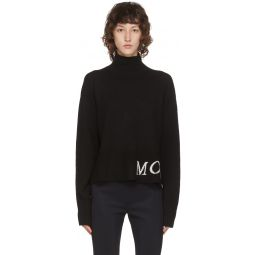 Black Wool & Cashmere Rib Knit Logo Turtleneck