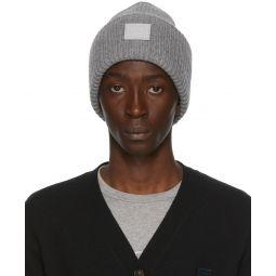 Grey Rib Knit Patch Beanie