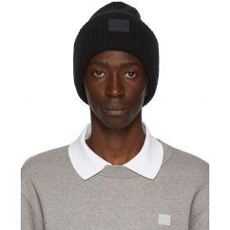 Black Rib Knit Patch Beanie