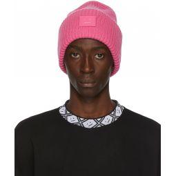 Pink Rib Knit Patch Beanie