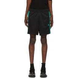 Black & Green Side-Stripe Track Shorts