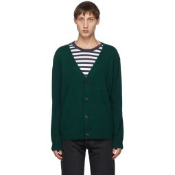 Green Melange Ribbed Cardigan