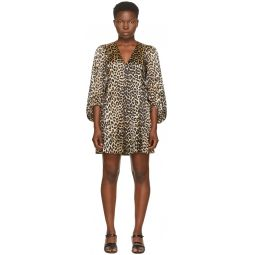 Black & Brown Silk Balloon Short Dress
