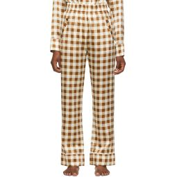 Brown Silk Check Lounge Pants