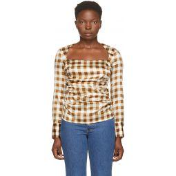 Brown Silk Check Draped Blouse