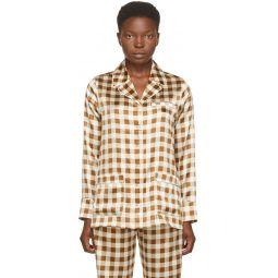 Brown Silk Check Shirt