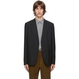Black Wool Popeline Collarless Blazer