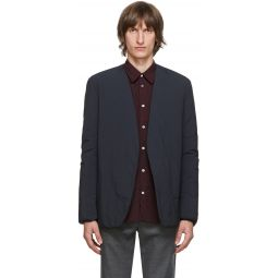 Black Garment-Dyed Collarless Blazer