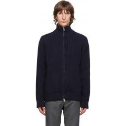 Navy Wool Cardigan Stitch Zip-Up Sweater