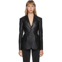 Black Leather Fitted Pointed Collar Blazer