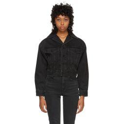 Black Denim Lapel Collar Jacket